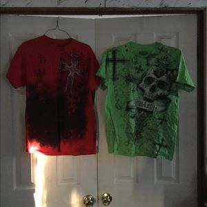 Two red and green MMA shirts